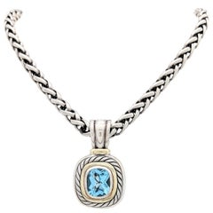 David Yurman Blue Topaz Albion Pendant Enhancer Necklace 14 Karat Sterling