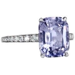 Leon Mege 3.40 Carat Natural Capri Spinel Diamond Pave Platinum Hand-Forged Ring