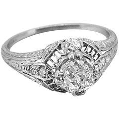 Platinum Art Deco Engagement Ring .71 Carat Diamond, GIA Certificate