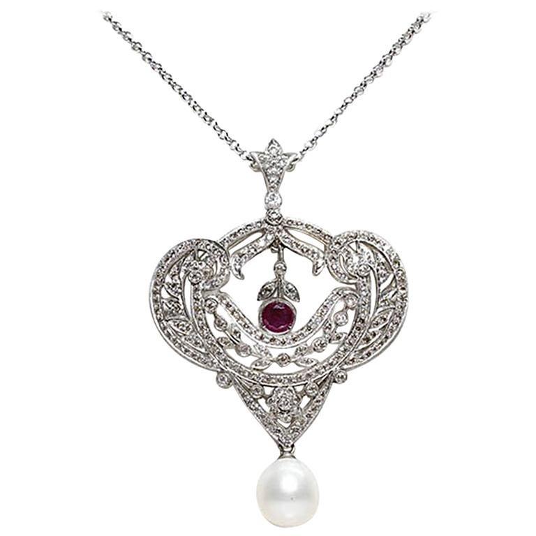 Antique Edwardian Platinum Diamond and 1 Carat Ruby Pendant