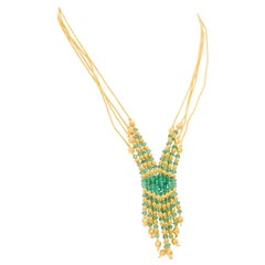 21 Karat Yellow Gold Turkish Four-Strand Emerald Bead Necklace