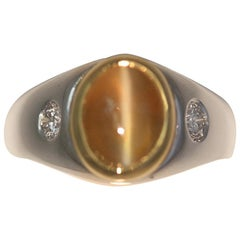 4.85+ Carat Men's Cats Eye and Diamond Men's Ring - Honey Color, Straight Eye