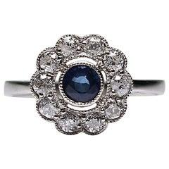 Modern Edwardian Style Platinum Diamond and Sapphire Ring