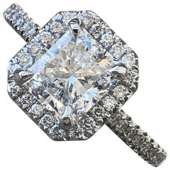 Radiant Halo Diamond Engagement Ring, 2.00 Carat