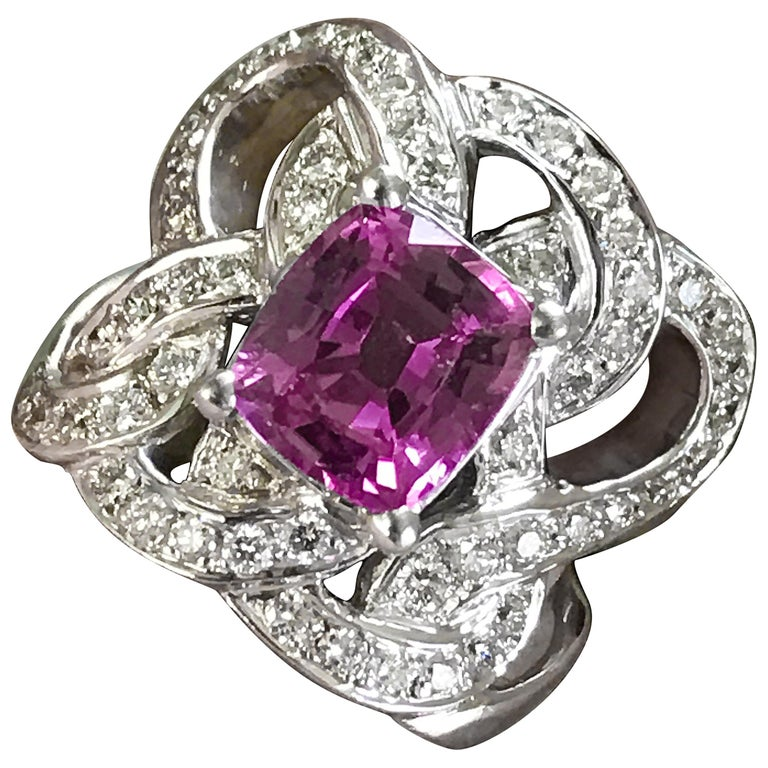 Pink Sapphire Diamond Statement Ring, 4 Carat Center Sapphire Engagement