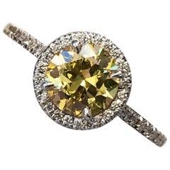Fancy Intense Yellow Diamond Engagement Ring 1.02 GIA Certified Diamond Halo