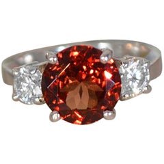 Natural Garnet Set in White Gold and Diamond Engagement or Fashion Ring