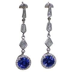 8 Carat TW Vivid Electric Blue Natural No Heat Sapphire Earrings