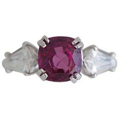 4.43 + Carat Pink Sapphire and Diamond, Platinum Engagement Ring