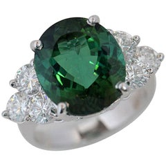 Tourmaline Engagement Ring 9.70 Carat TW, Oval Center Set in Platinum