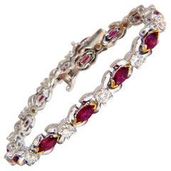 3.50 Carat Natural Ruby and 2.50 Carat Diamonds Bracelet 14 Karat
