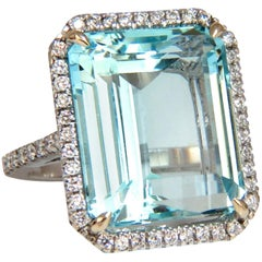 GIA Certified 22.21 Carat Natural Aquamarine Diamonds Ring 18 Karat