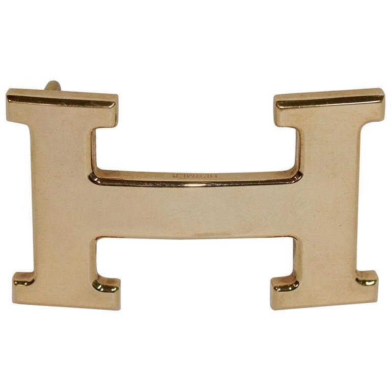 Hermes 18 Karat Solid Rose Gold H Belt Buckle