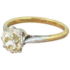 Art Deco 1.53 Carat Light Yellow Old Cut Diamond Engagement Ring