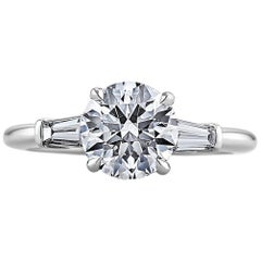 Ideal Cut Round Brilliant 1.71 Carat Diamond Platinum Engagement Ring
