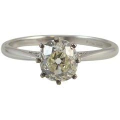 Antique Old Mine Cut 0.75 Carat Diamond Solitaire Engagement Ring, Platinum Band