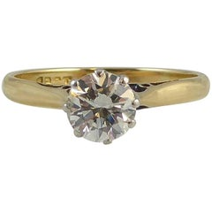 Contemporary Pre-Owned 0.70 Carat Diamond Solitaire Ring, Yellow Gold Band