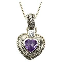 Judith Ripka Sterling Silver Diamonique Amethyst Heart Pendant on Silver Chain