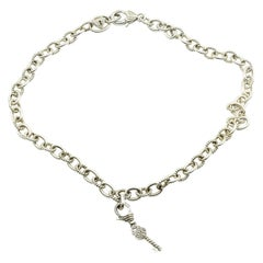 Judith Ripka Sterling Silver Cable Collection Necklace with Diamonique Key