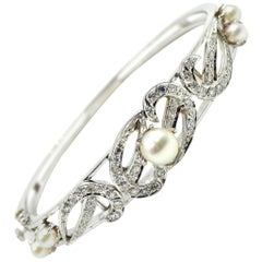 Vintage Diamond with Pearls Bangle Bracelet