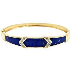 Lapis Lazuli and Diamond Bangle Bracelet 14 Karat Yellow Gold