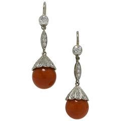 Natural Coral Diamond Platinum Gold Drop Dangle Earrings Lever Backs Art Deco