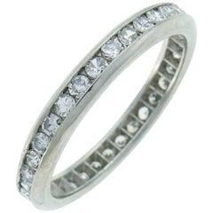 Art Deco Diamond Platinum Eternity Band Ring Single Cut Wedding