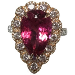Pink Tourmaline and Diamonds Ring