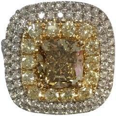 Natural Yellow and White Diamond Ring
