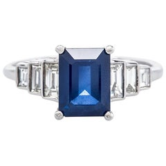 Art Deco Sapphire Diamond Vintage Inspired Engagement Ring