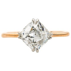 Modern Engagement Ring Set with 2.05 Carat Antique Diamond