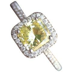 1.35 Carat Diamond and 18 Karat Gold Ring, Fancy Yellow Radiant GIA