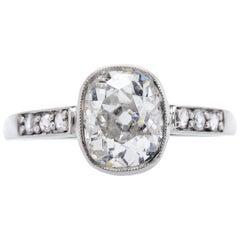 Edwardian 1.61 Carat Diamond Platinum Vintage Inspired Engagement Ring