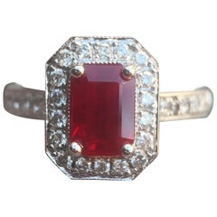 Ruby Gemstone with Diamond Halo Engagement or Fashion Ring, 2 Carat