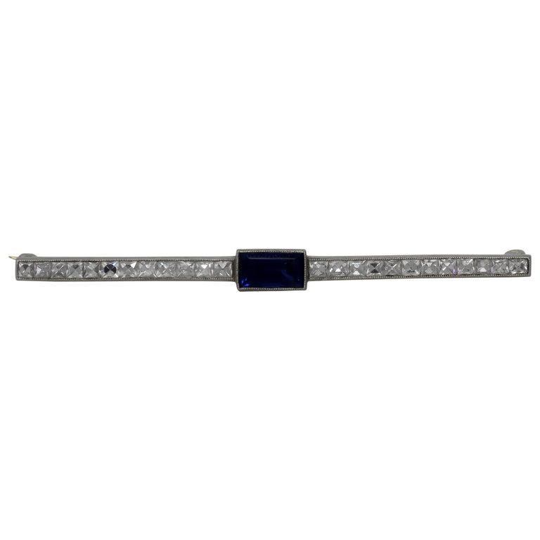 Antique Tiffany & Co. Bar Pin Diamond Sapphire Platinum