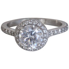 Round Diamond Halo Engagement Ring, 1.2 Center, 1.7 Carat Total