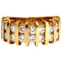 1.80 Natural Round Diamond Band Ring 14 Karat Channel Row