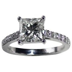 Princess Cut Diamond Engagement Ring, 1.4 + Carat TW, 18 Karat White Gold