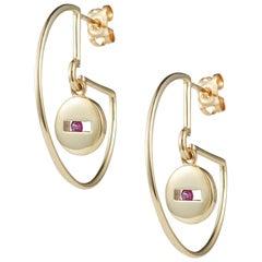 Luke Rose 14 Carat Gold and Pink Sapphire Hoop Earrings