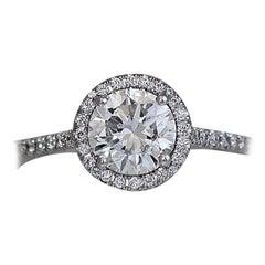 Round Diamond Halo Engagement Ring, 1.14 E SI1 GIA Center Diamond