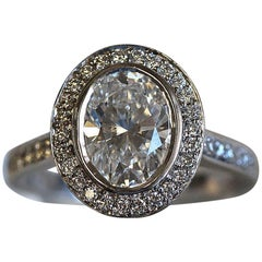 Oval Diamond Halo Engagement Ring, 2.4 Carat TW