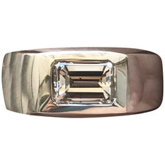 Emerald Cut Diamond Men's Platinum Ring, 2.29 Carat G SI2