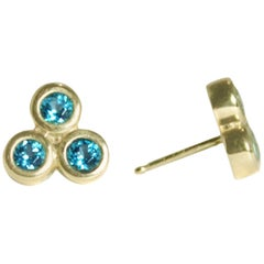 Emily Kuvin Gold and Triple Topaz Stud Earrings