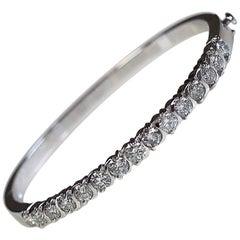3.00 Carat Total Weight Platinum Hinged Bangle Bracelet