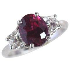 Thai Ruby 3.00 Carat GIA Three Stone Ring 18 White