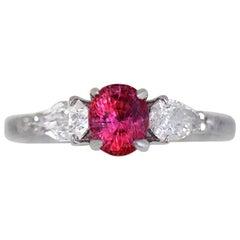 Vivid Pink Sapphire 1.00 Carat Three-Stone Ring 18 Karat White