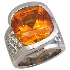 15.65 Carat Huge Cushion Natural Honey Orange Sapphire and Diamond Ring