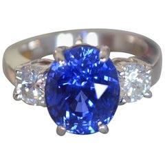7.39 Carat Blue Sapphire 3-Stone Diamond Ring