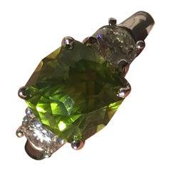 Peridot Engagement Ring, Set with Diamonds in 18 Karat Yellow Gold, 4.5 Carat
