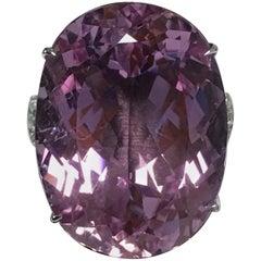 36.76 Carat Kunzite and Diamond Ring Set in 14 Karat White Gold